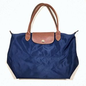 Longchamp Blue Medium Le Pliage Tote Bag Purse